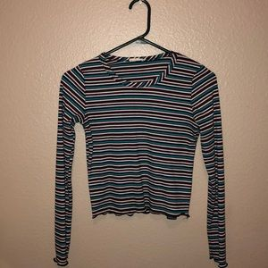 Striped Stretchy Crop Top